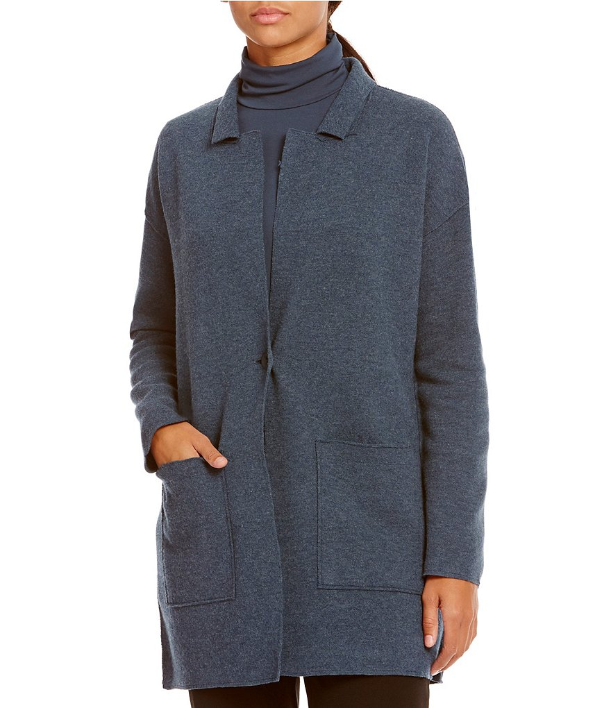 Eileen Fisher Notch Collar Merino Wool Jacket