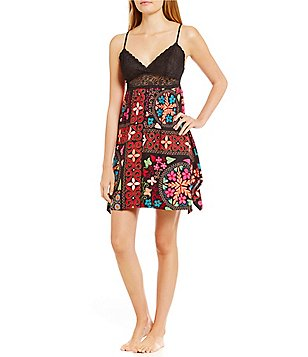 Josie Quilted Mojave Twill & Lace Chemise