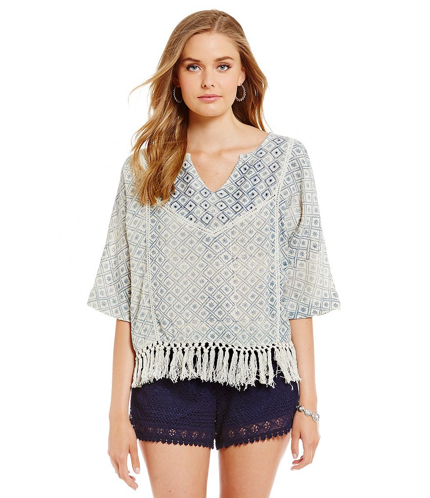 Chelsea & Violet Embroidered Fringe Woven Blouse