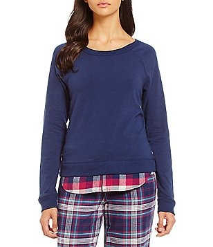 Jane & Bleecker Jersey & Plaid Twill Lounge Top
