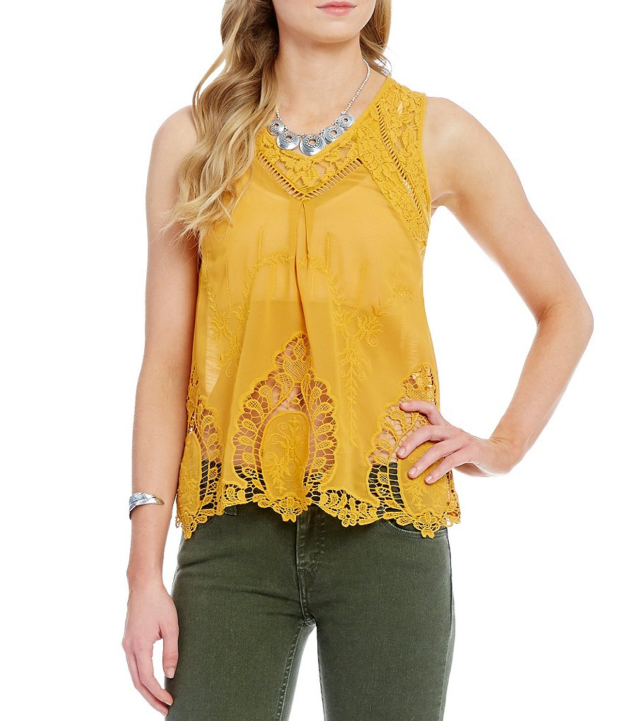 Coco + Jaimeson Embroidered Scalloped Lace Tank Top