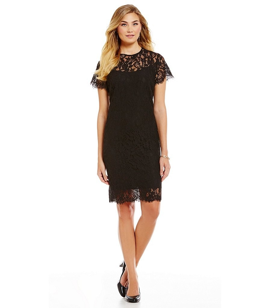 Lauren Ralph Lauren Lace Short-Sleeve Dress
