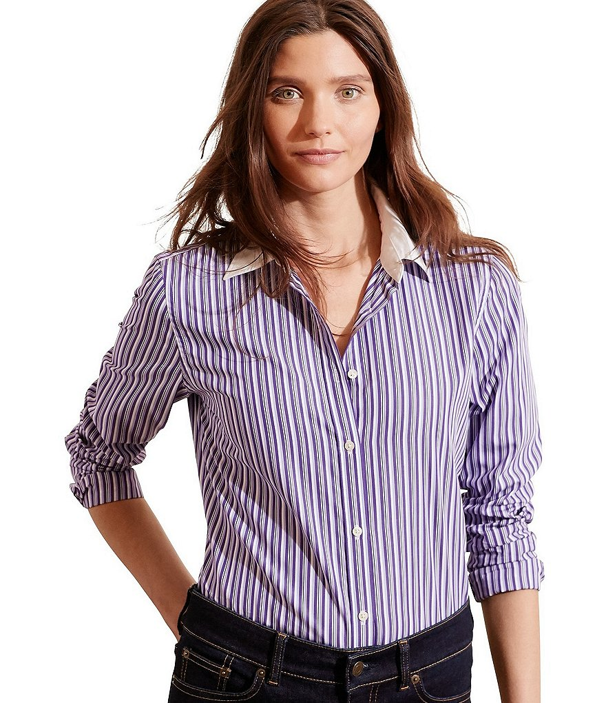 Lauren Ralph Lauren Striped Stretch Cotton Button Down Shirt