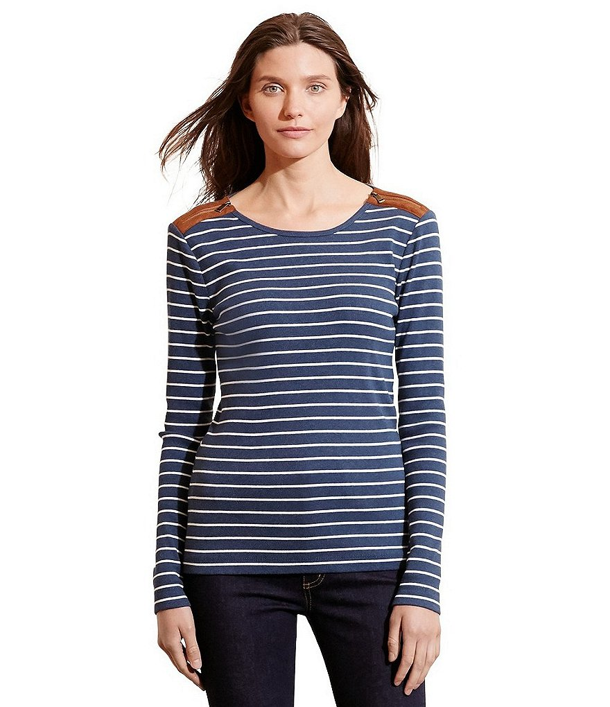 Lauren Ralph Lauren Striped Zip-Shoulder Top
