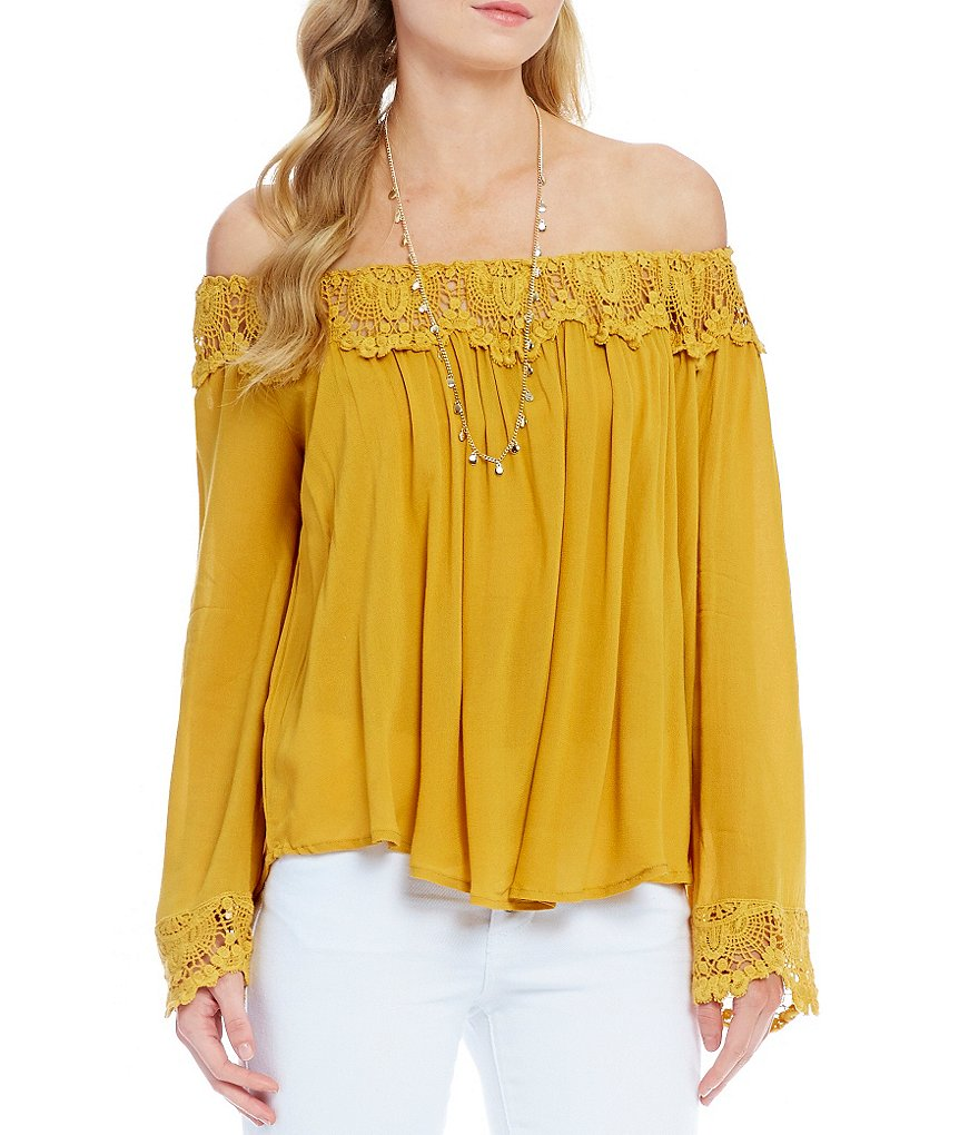 Coco + Jaimeson Off-The-Shoulder Lace Trim Top