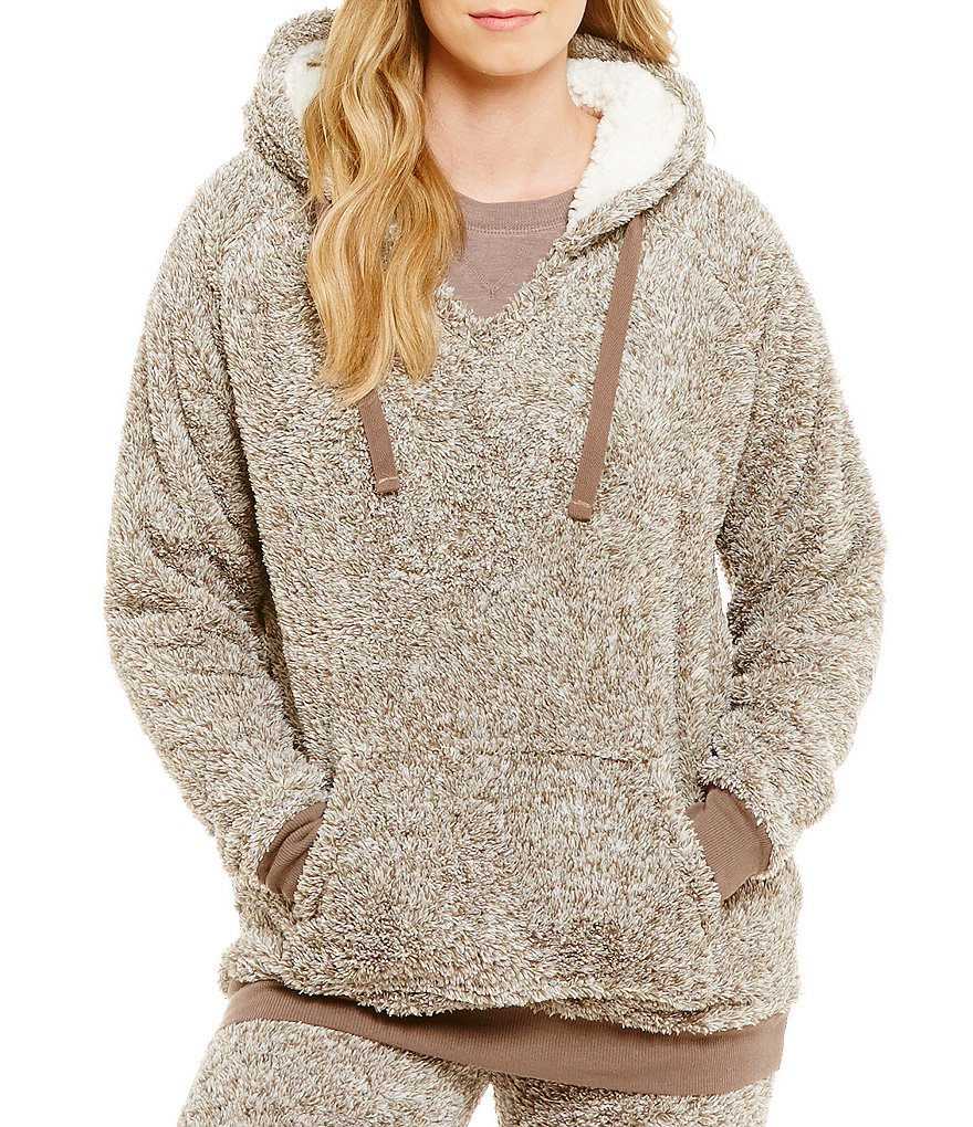 PJ Salvage Microfleece Cozy Hoodie Pullover Lounge Top