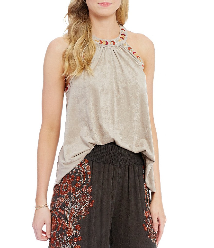 Coco + Jaimeson Faux-Suede Embroidered Trim Tank Top