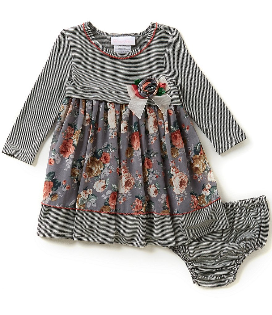 Bonnie Baby Baby Girls 12-24 Months Knit to Floral Chiffon Dress
