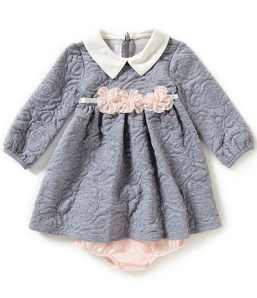 Bonnie Baby Baby Girls 12-24 Months Knit-Quilt Jacquard Dress