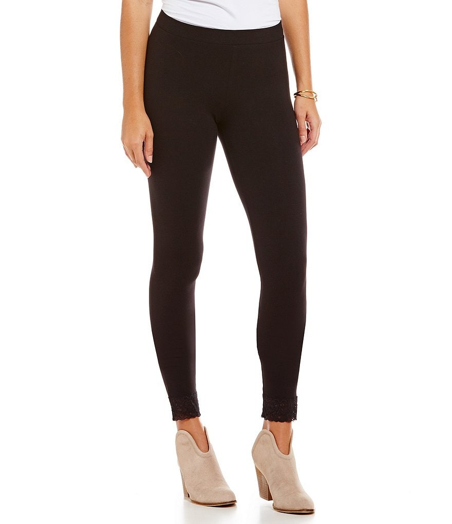 HUE Lace-Trimmed Leggings