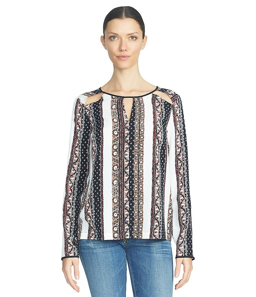 1. STATE Cut-Out Long Sleeve Blouse