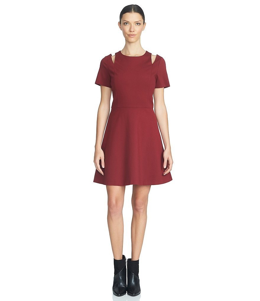 1. STATE Cut-Out Short Sleeve Fit-and-Flare Dress