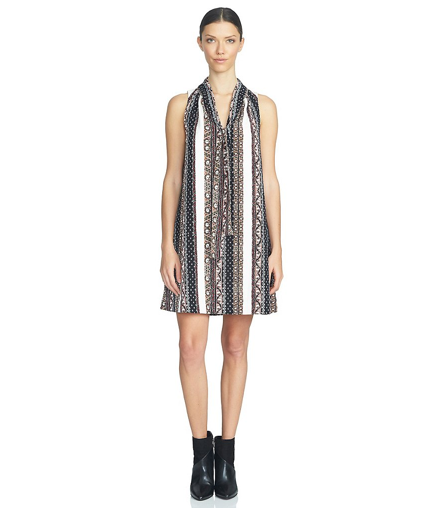 1. STATE Printed Sleeveless Tie-Neck Shift Dress
