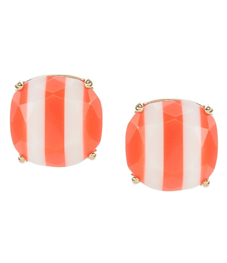 kate spade new york Striped Small Square Gold Plated Stud Earrings
