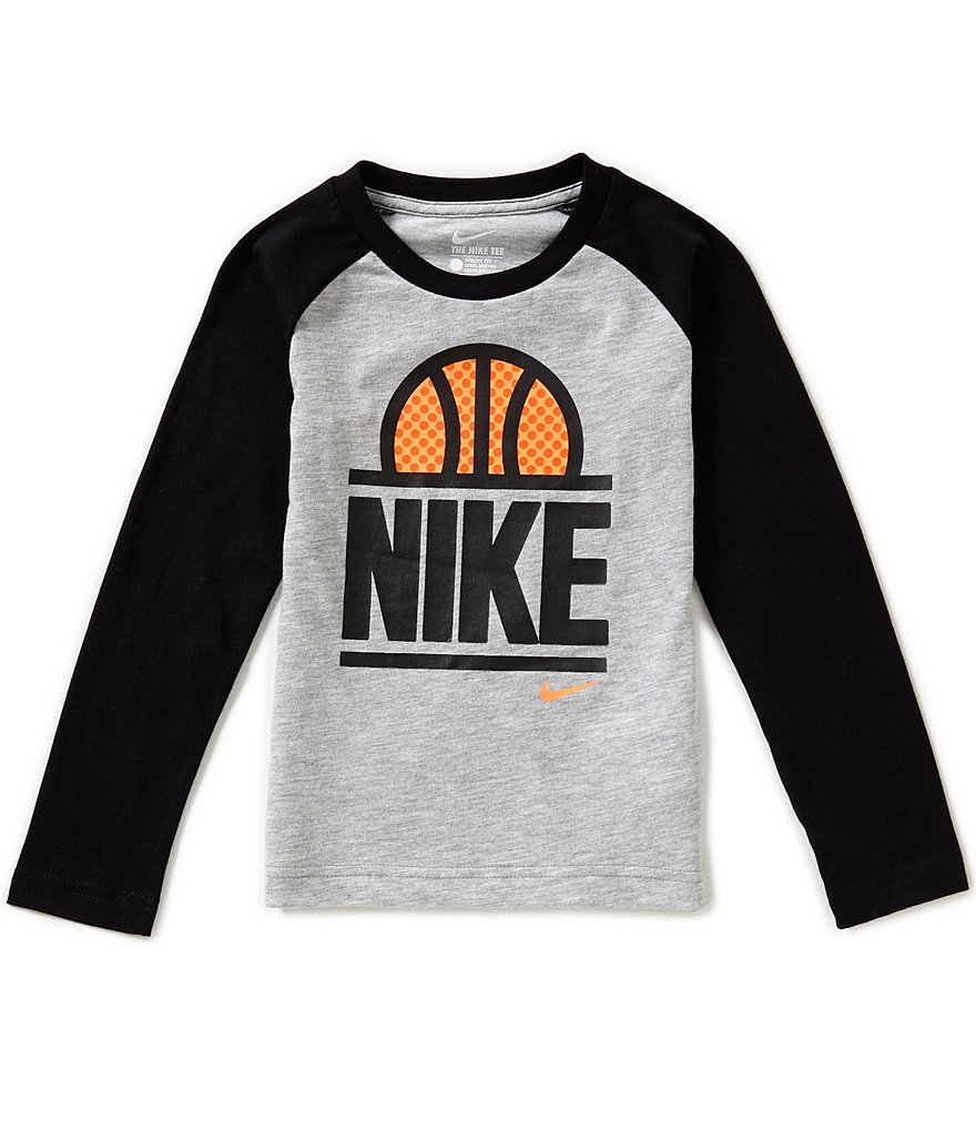 Nike Little Boys 4-7 World Of Basketball Graphic Long-Sleeve Raglan Tee