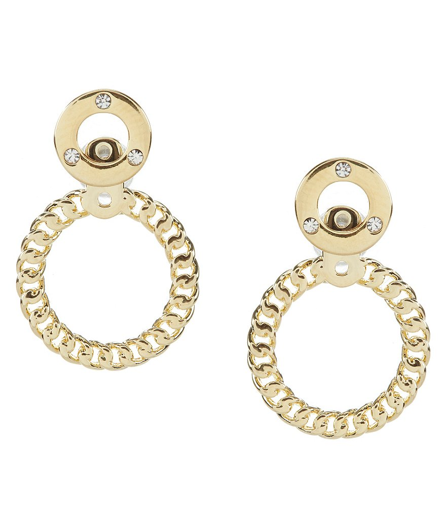 kate spade new york Infinity & Beyond Gold Plated Hoop Front/Back Earrings