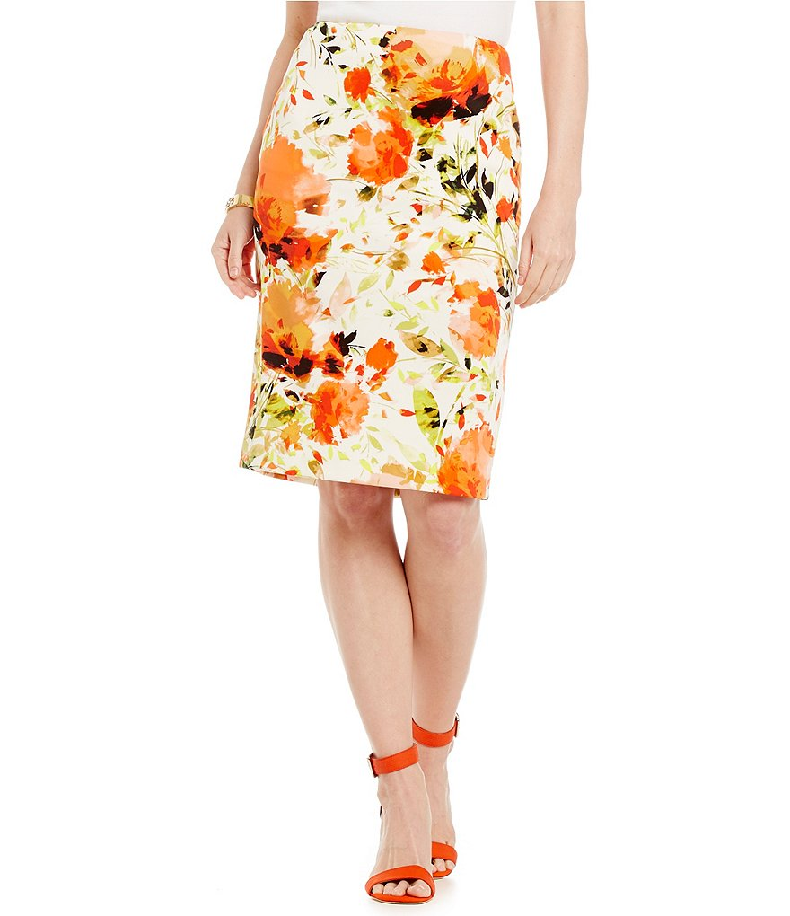 Kasper Petite Floral Scuba Pencil Skirt