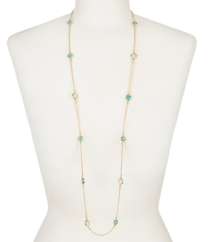 kate spade new york Stack Attack Turquoise Stone Scatter Gold Plated Long Necklace