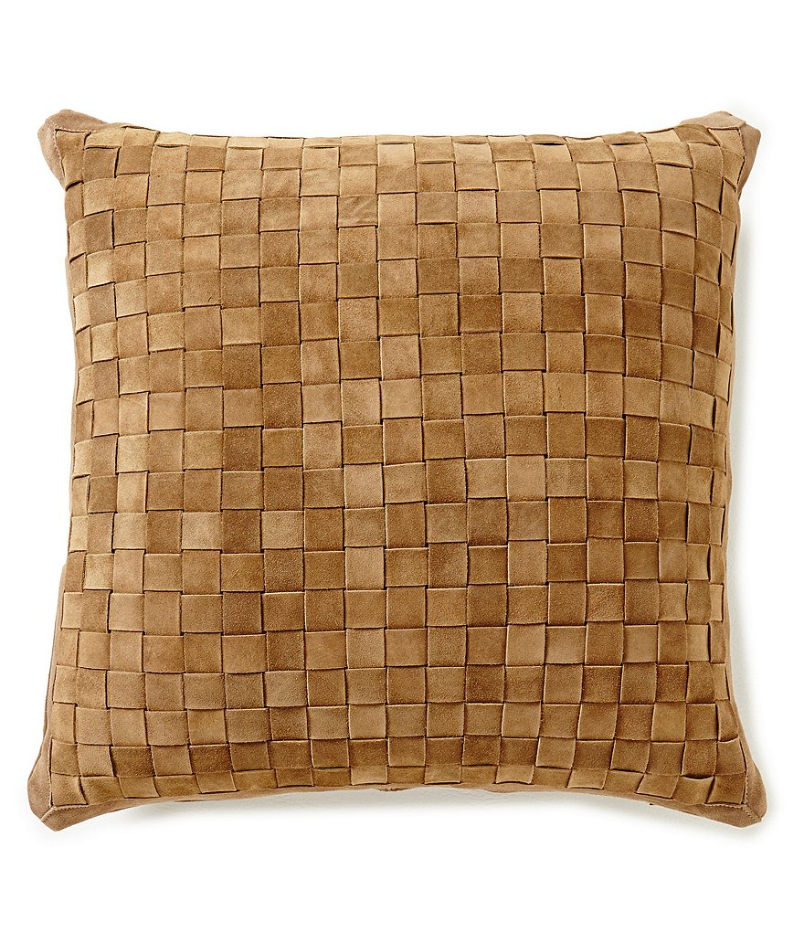 Noble Excellence Nature´s Neutrals Crosshatched Leather Square Pillow