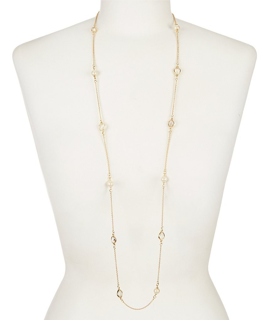 kate spade new york Stack Attack Scatter Pearl Gold Plated Long Necklace