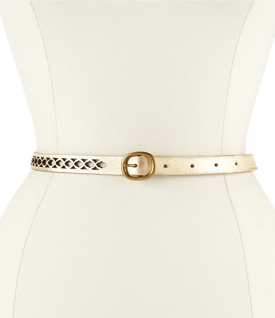Lauren Ralph Lauren Cutout Skinny Metallic Leather Belt
