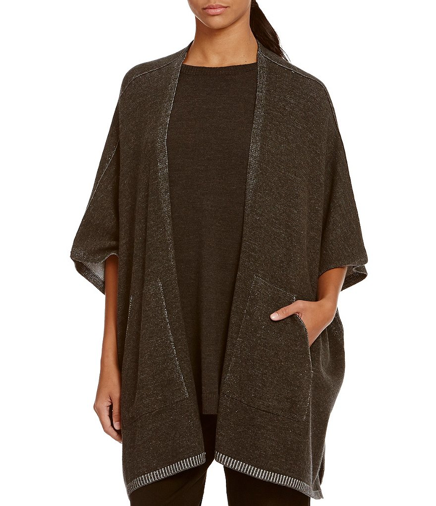Eileen Fisher Round Neck Open Front Slouchy Poncho