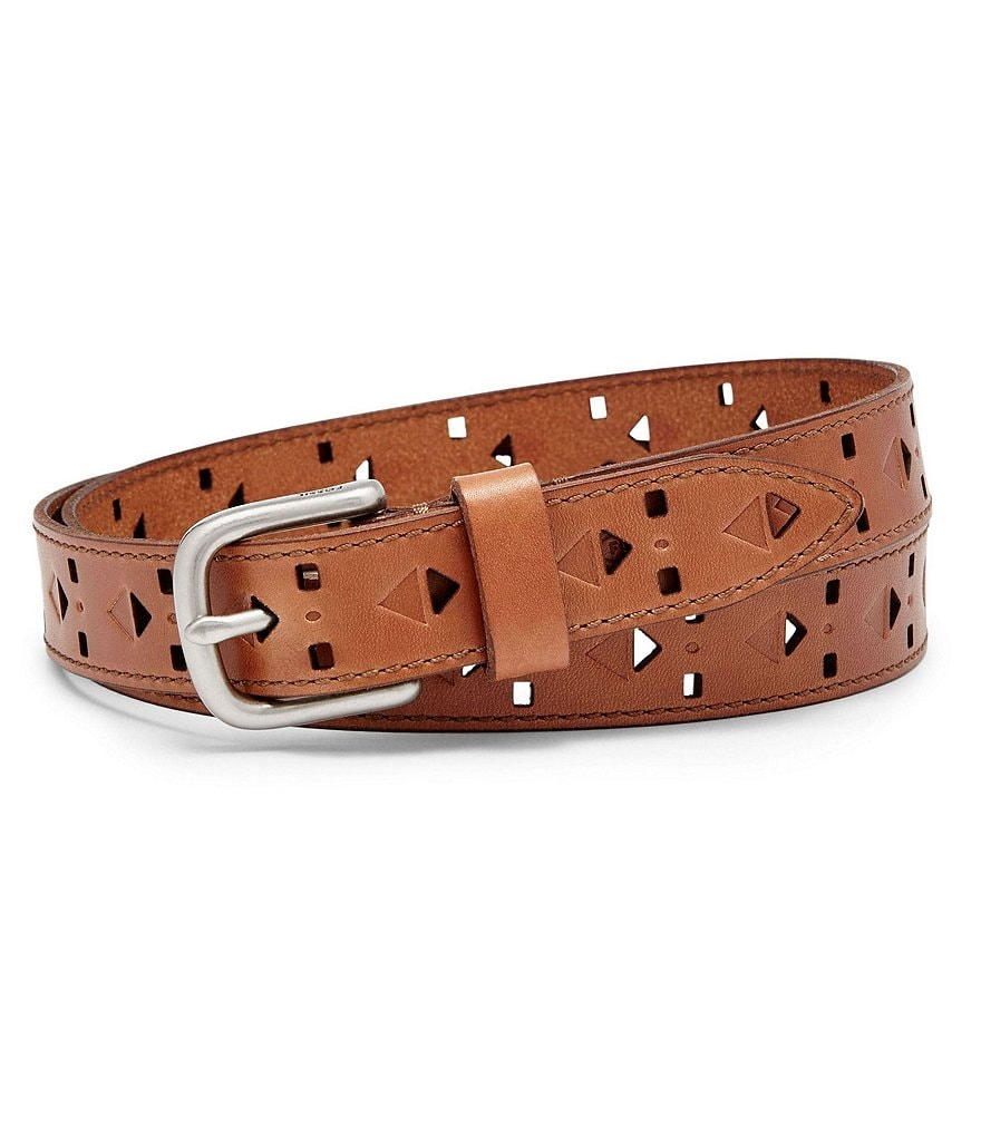 Fossil Diamond Perforated Skinny Leather Belt