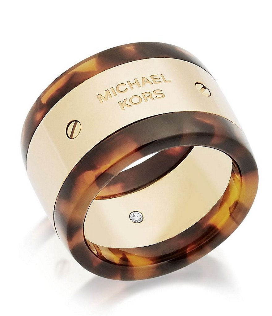 Michael Kors Logo Stainless Steel and Cubic Zirconia Plaque Barrel Ring