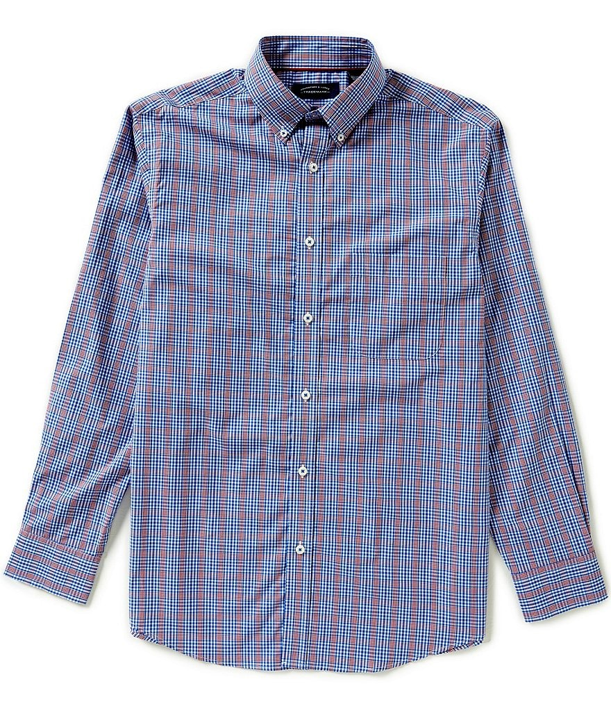 Roundtree & Yorke Trademark Long Sleeve Check Woven Sportshirt