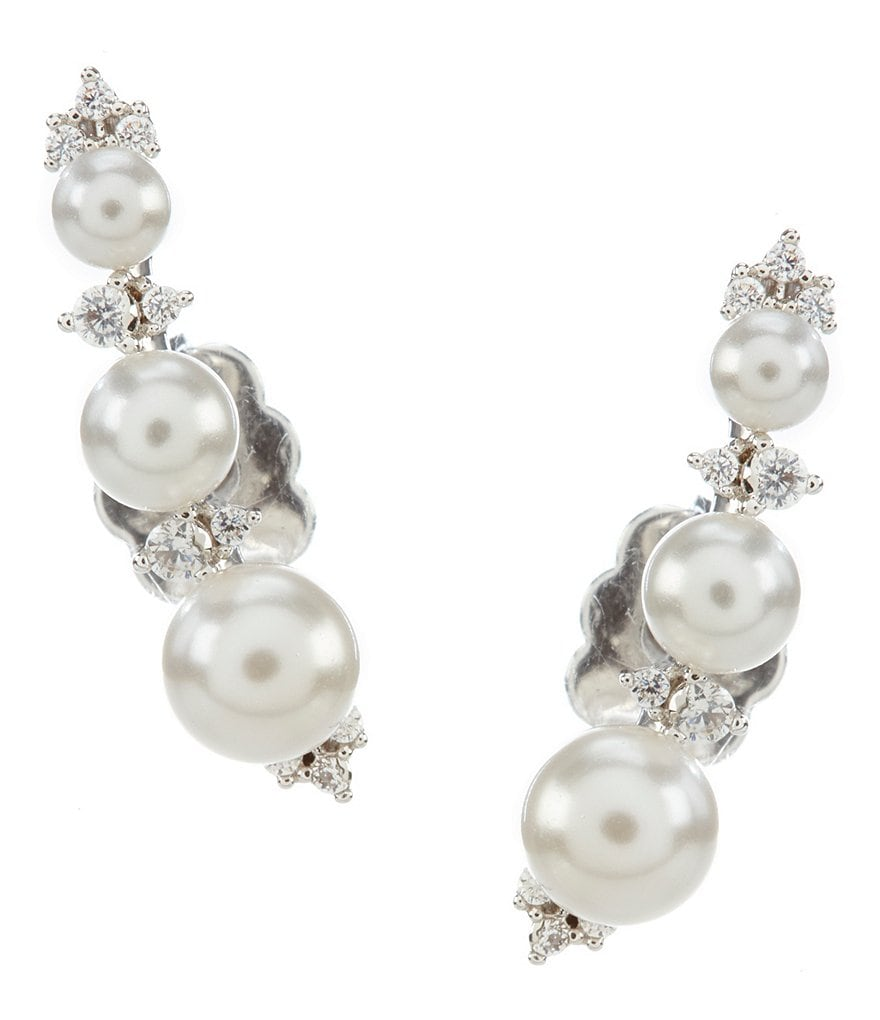 Nadri Fiona Pearl & Crystal Ear Crawler Earrings