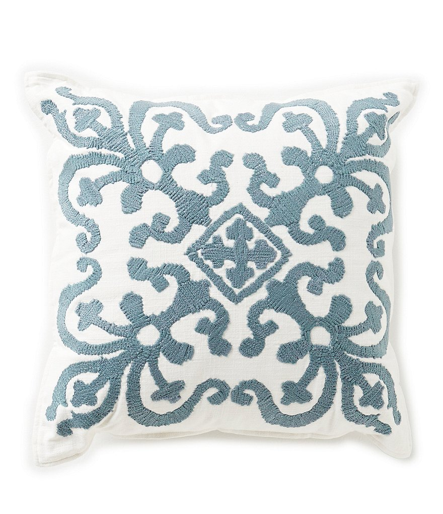 Southern Living Medallion-Embroidered Square Pillow