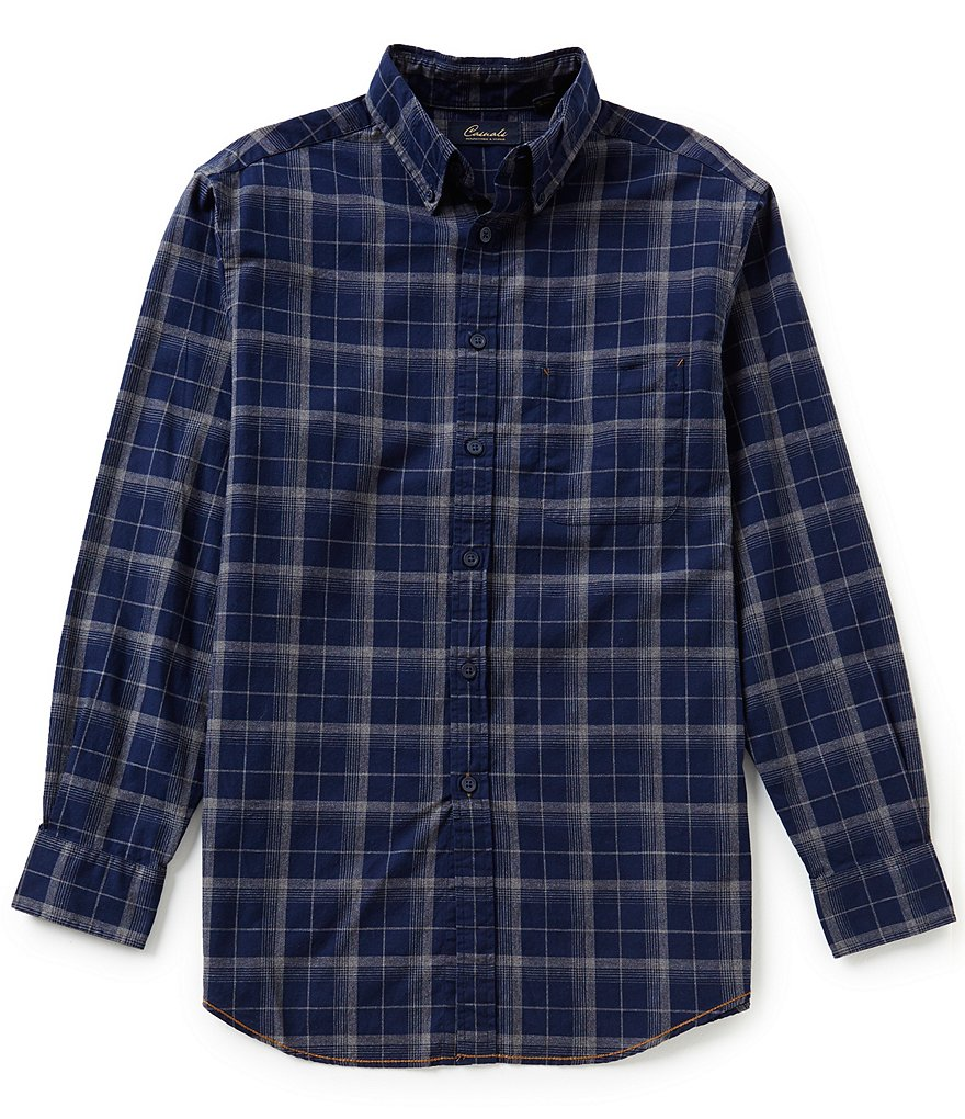Roundtree & Yorke Casuals Long Sleeve Plaid Buttondown Woven