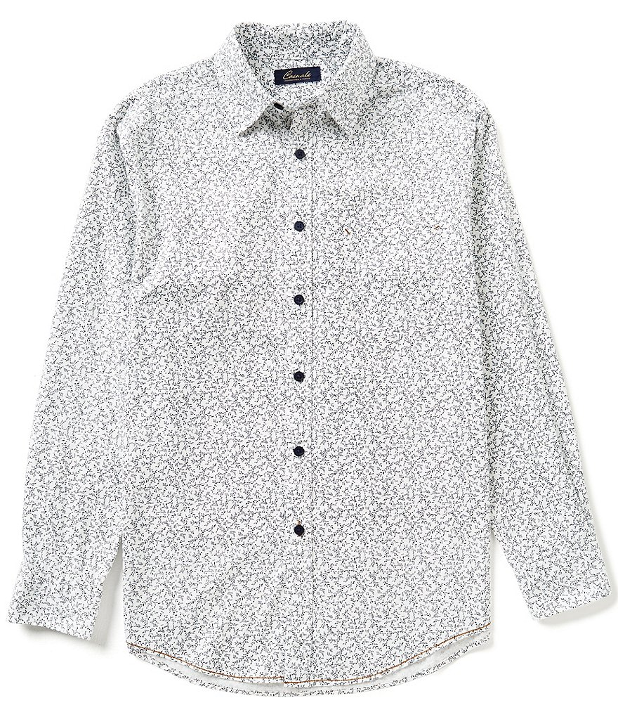 Roundtree & Yorke Casuals Long-Sleeve Repeating Print Woven Shirt