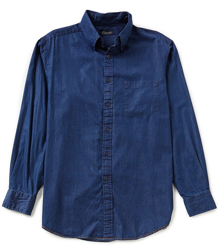 Roundtree & Yorke Casuals Long Sleeve Print Buttondown Woven
