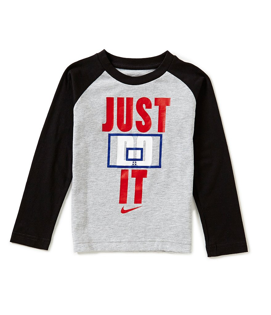 Nike Little Boys 4-7 Just Do It Basketball Long-Sleeve Raglan Tee