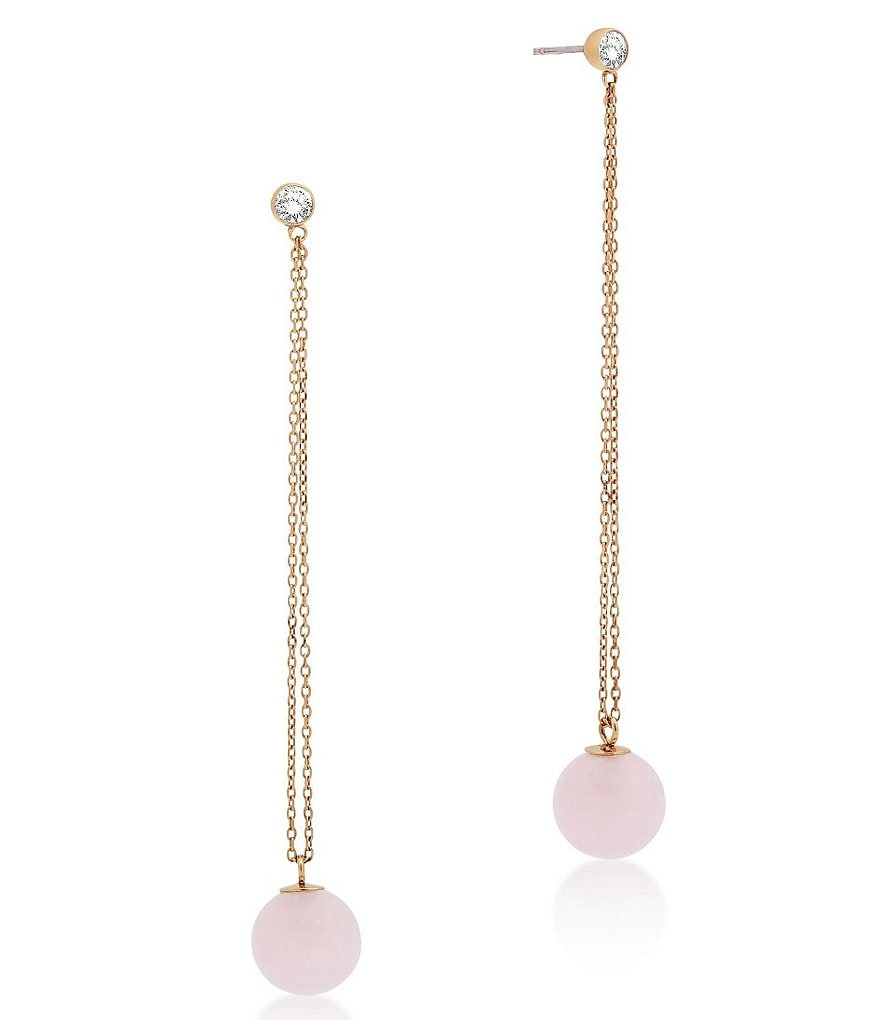 Michael Kors Rose Quartz Semi-Precious Rose Quartz Stainless Steel Linear Drop Earrings