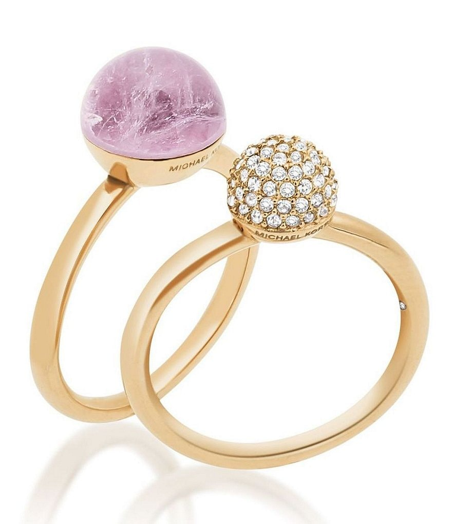 Michael Kors Pavé & Amethyst Stacked Ring Set