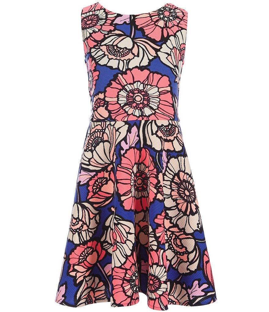 Rare Editions Big Girls 7-16 Floral-Printed Skater Dress