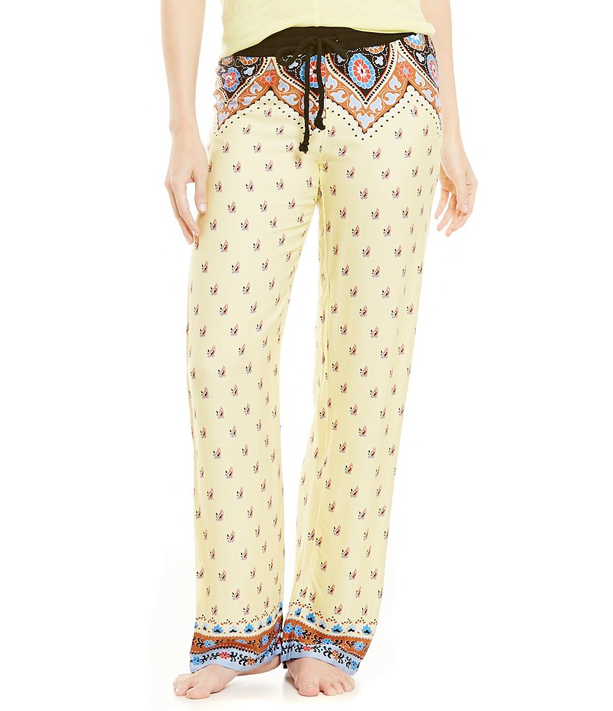 PJ Salvage Border Print Challis Wide Leg Lounge Pants