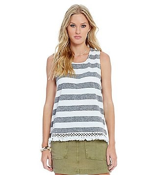 Chelsea & Violet Striped Fringe Trim Hem Knit Tank