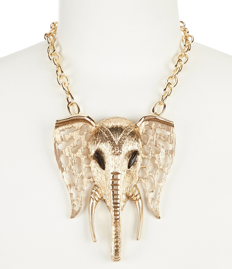 Anna & Ava Elephant Pendant Statement Necklace