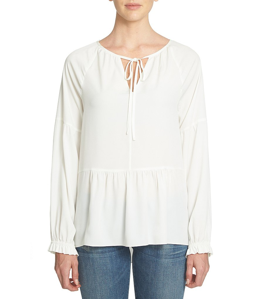 1. STATE Tie-Neck Peasant Top