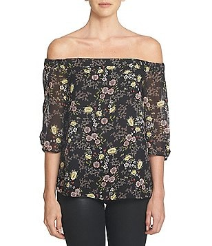 1. STATE Off-the-Shoulder 3/4 Sleeve Printed Chiffon Blouse