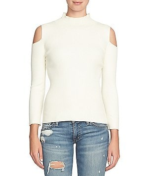 1. STATE Mock Neck Cold-Shoulder Sweater