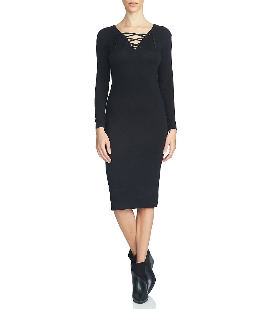 1. STATE Bodycon Lace-Up Neck Long Sleeve Midi Dress