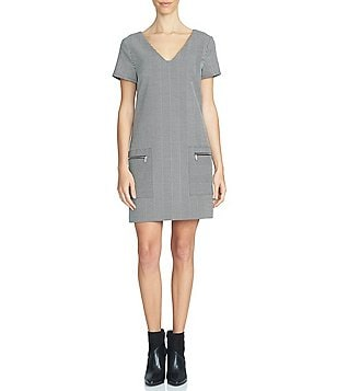 1. STATE Patch Pocket V-Neck Shift Dress