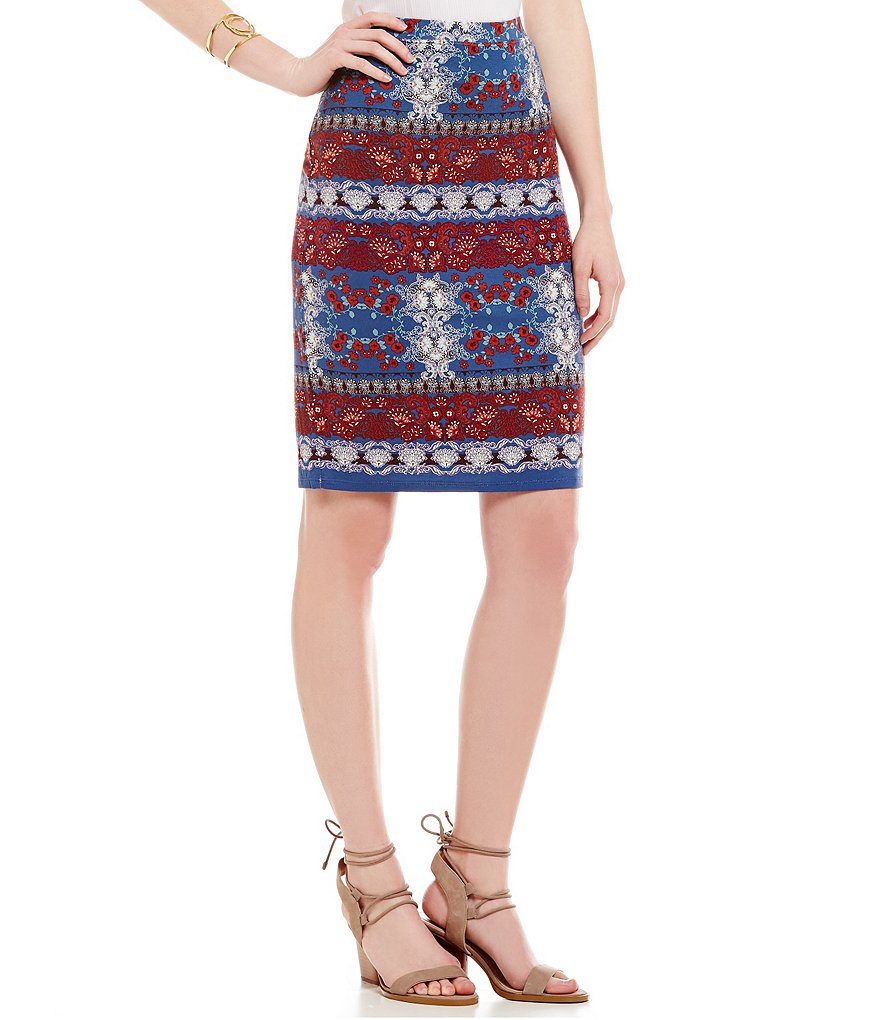 Chelsea & Violet Printed Knit Midi Pencil Skirt