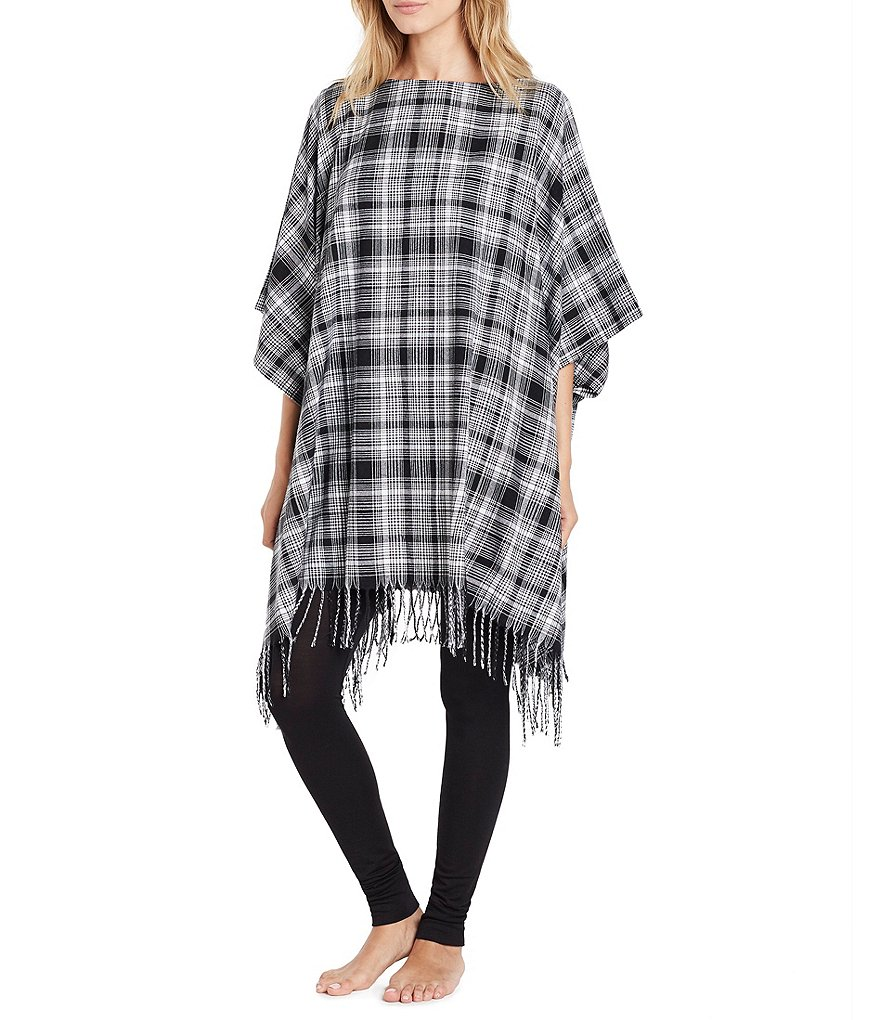 DKNY Plaid Flannel Lounge Poncho