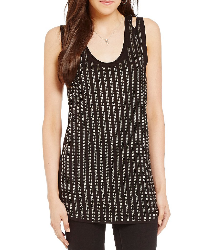 Guess Collena Sleeveless Embellished-Stripe Jersey Top