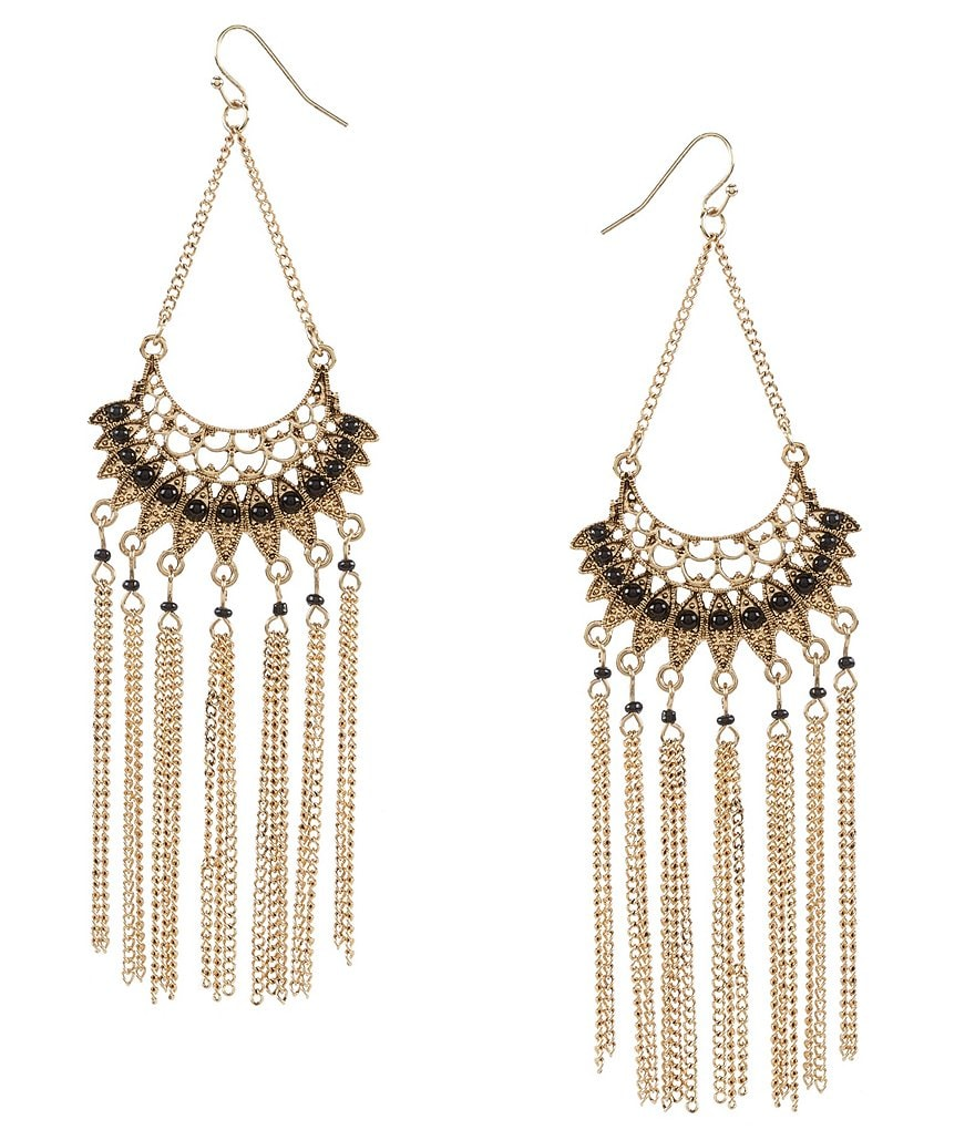 Natasha Accessories Fan Fringe Statement Earrings